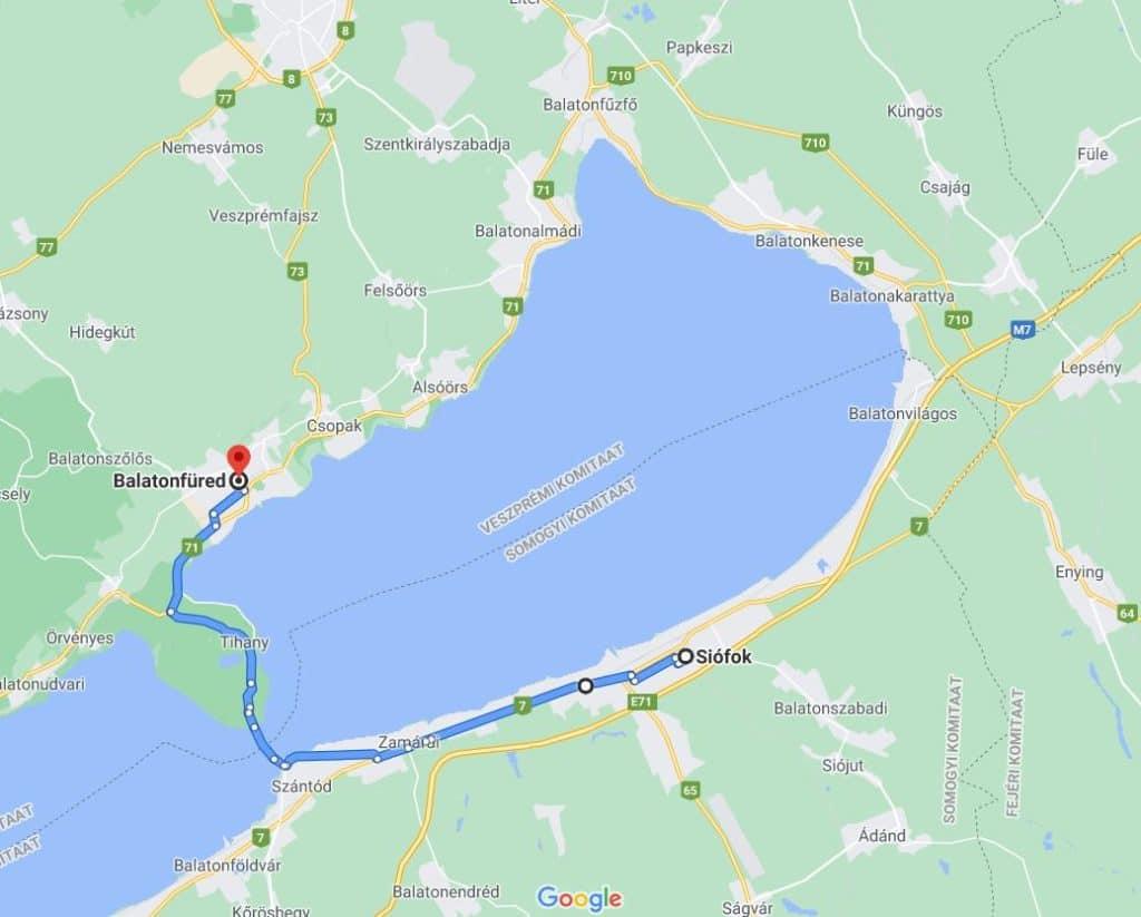 Siofok to Balatonfüred