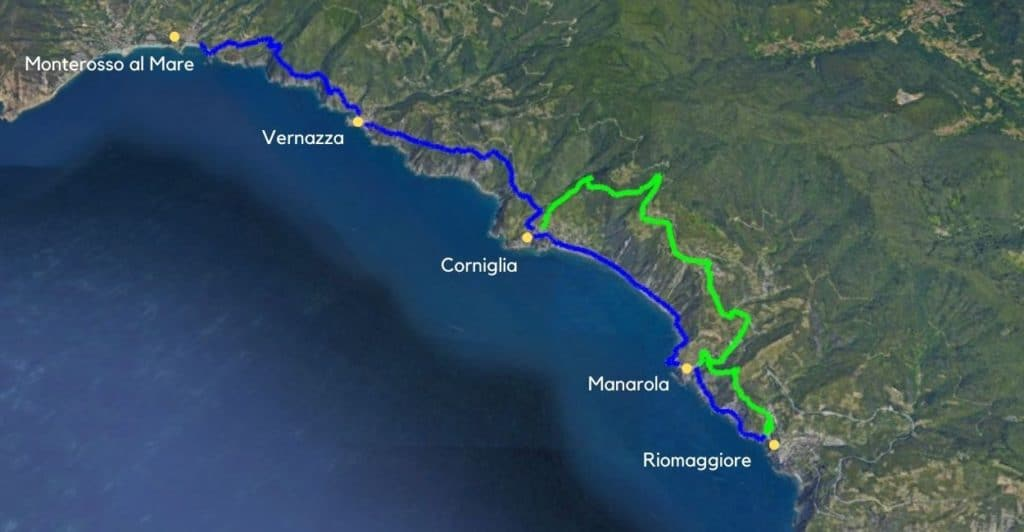 Cinque Terre hike map on Blue Trail