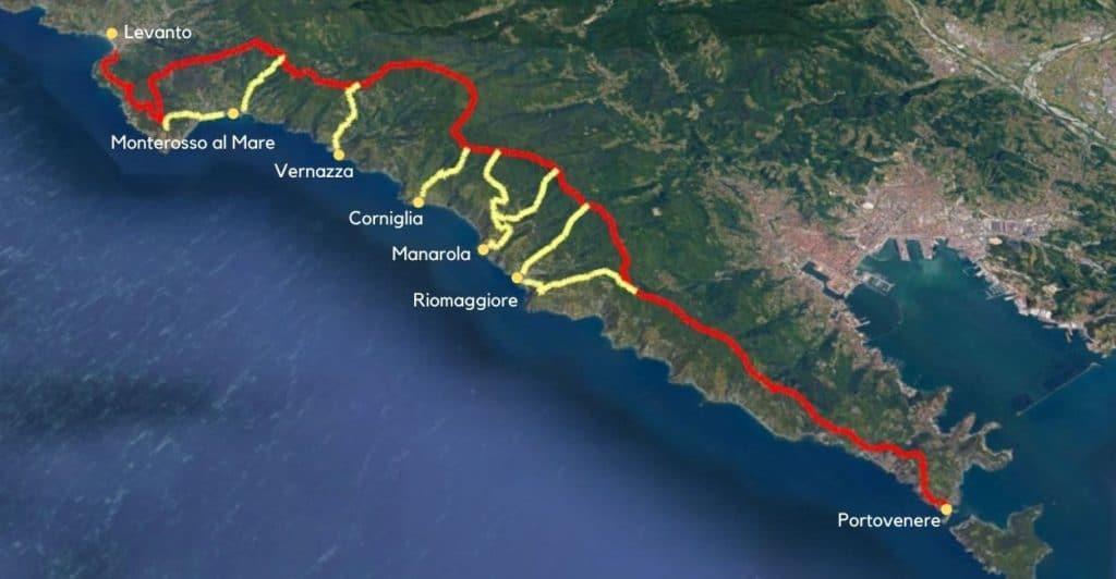 High Path Trail. Cinque Terre hiking map.