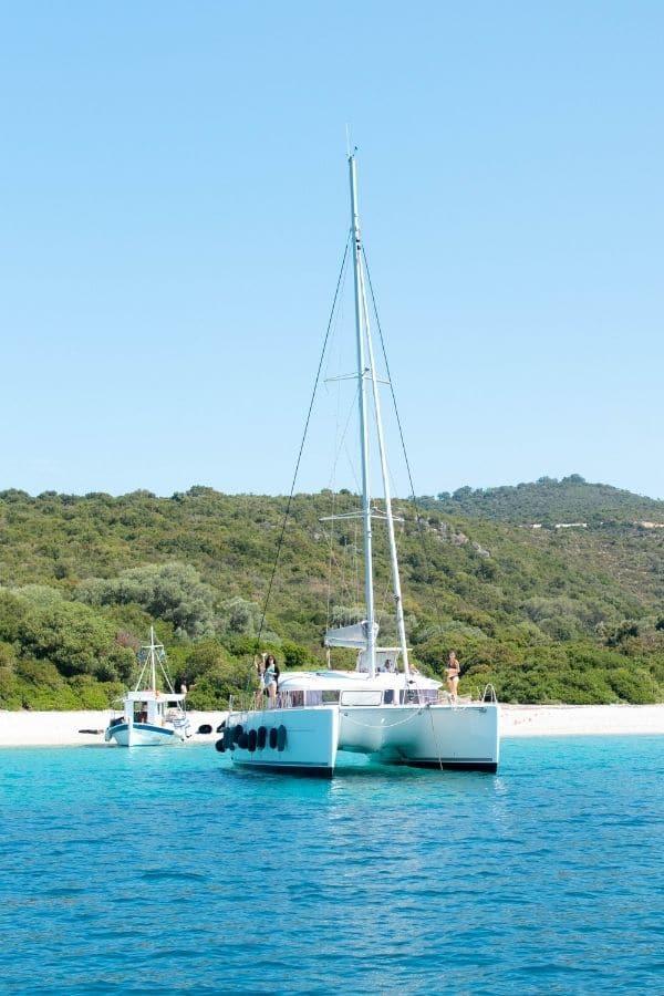 yacht cruising around Lefkada island